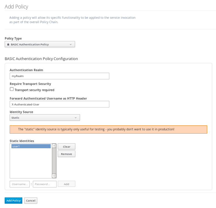 Adding a BASIC Authentication Policy to a Managed Service in JBoss