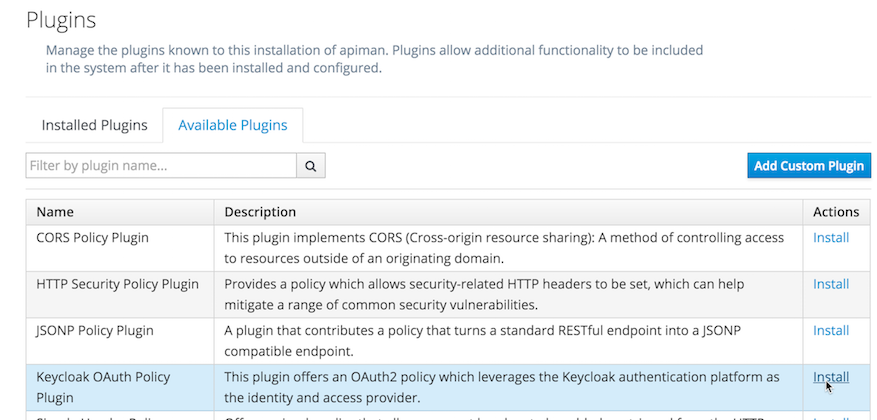 Select Keycloak OAuth Policy Plugin from the available plugins list